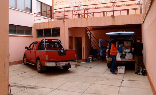 The parking area in Hotel Sumaj Wasi.