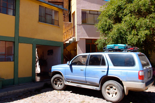 The parking lot at Residencial Tarija in Potosi.