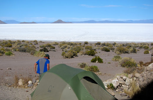 A view of the salt flats from our campsite on Isla Pescador.