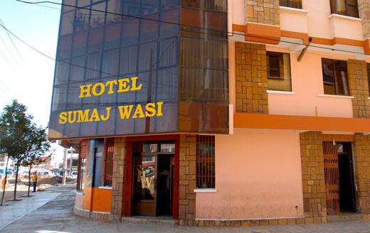 The entrance to Hotel Sumaj Wasi in Oruro.