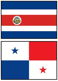 Costa Rica and Panama Flags