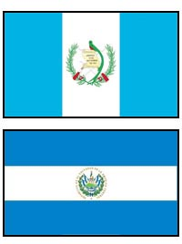 Guatemala and El Salvador Flags