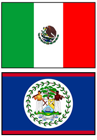 Mexico and Belize Flags