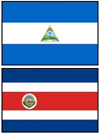 Nicaragua and Costa Rica flags