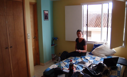 Jessica chilling in our hotel room in Popayan.