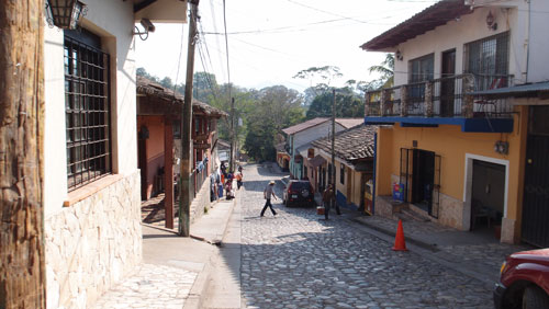 A view of the streets of Copan.