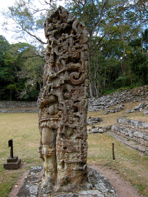 A stela at the ruins of Copan.