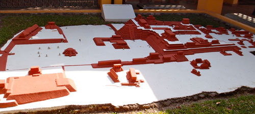 A scale model of the ruins of Copan.