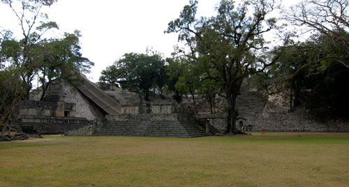 Our first sight of the ruins of Copan.