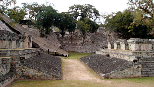 The ball court in the ruins of Copan.