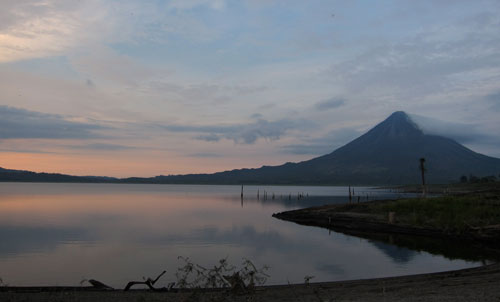 A view of Volcan Arenal from our campsite on Lake Arenal.