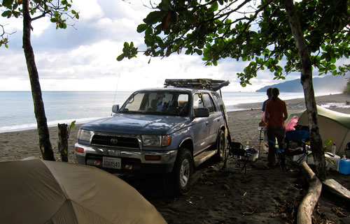 Our campsite on Carate beach.