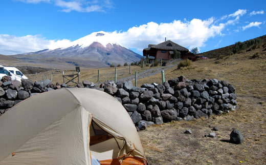 Our campground below Volcan Cotopaxi at Tambopaxi.