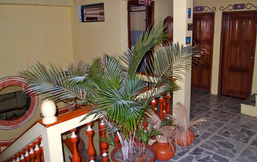 A view of the upstairs of Hostal Hogar Cuencano.
