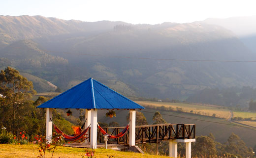 The lookout at Rose Cottage above Otavalo.