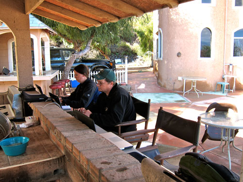 Jess and Kobus working at our campsite in Ensenada.
