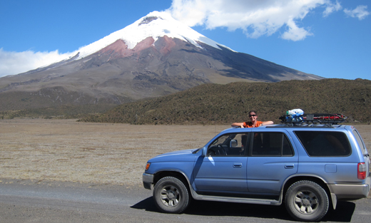 Blue in front of Volcan Cotopaxi.