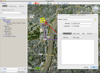 A screenshot in Google Earth showing how to add and move a new placemark.