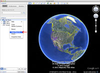 A screenshot of Google Earth showing how to backup your map.