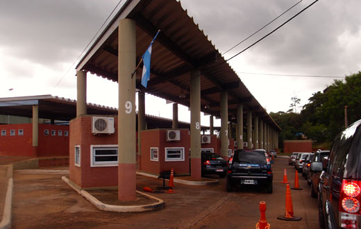 The drive-through border crossing into Brazil.
