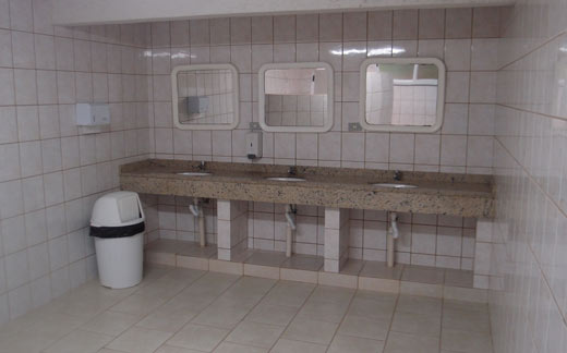 An emaculate bathroom at one of our first campgrounds in Brazil.