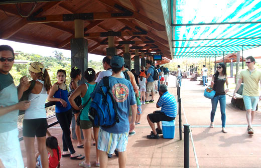 The line to board the train to the visitors center.