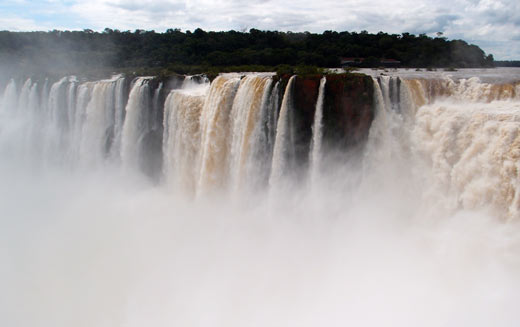 A view of Iguazu Falls from above.