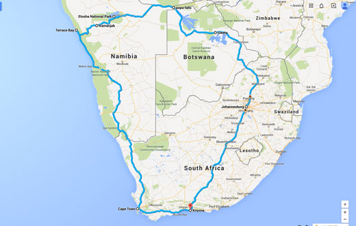 The road map for Namibia / Botswana 2014