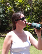 Jessica having her first South Africa beer