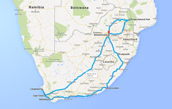 Route map of South Africa