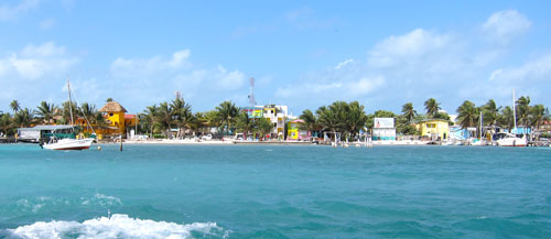 Our first sight of Caye Caulker.
