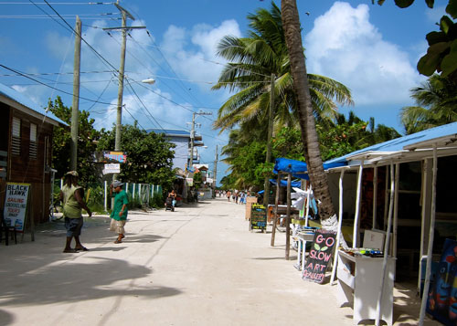 The main street of Caye Caulker.