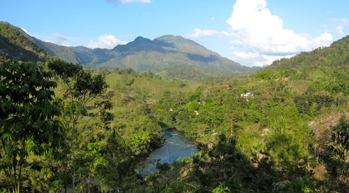 The view of the valley from our cabin in Lanquin.