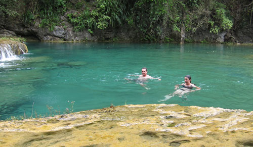 Swimming in Semuc Champey.