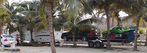 A huge RV with trailers at our campsite near Playa Del Carmen.
