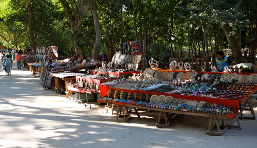 Rows of vendors selling souvenires at Chichen Itza.