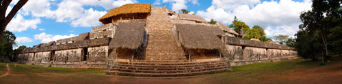 A panorama of the main structure at Ek'Balam.