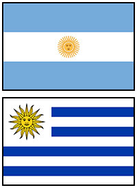 Argentina and Uruguay flags