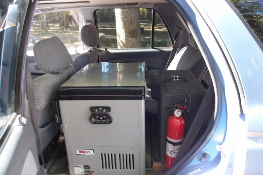 fridge and fire extinguisher with lock box