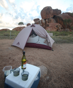 Camping at the Devils Marbles Nat Park in Australia