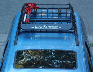 Roof rack with Life Remotely sticker.
